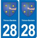 28 Thiron-Gardais blason autocollant plaque stickers ville