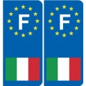 Italy F europe Sticker - rounded-right -sticker plaque immatriculation auto