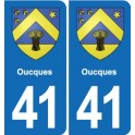 41 Oucques coat of arms, city sticker, plate sticker department city