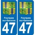 47 Fourques-sur-Garonne coat of arms sticker plate stickers city