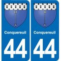 44 Conquereuil coat of arms, city sticker, plate sticker