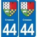 44 Crossac coat of arms, city sticker, plate sticker