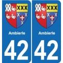 42 Villerest blason ville autocollant plaque stickers