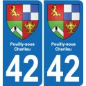 42 Pouilly-sous-Charlieu coat of arms, city sticker, plate sticker