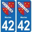 42 Maclas blason ville autocollant plaque stickers