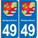 49 Martigné-Briand coat of arms sticker plate stickers city