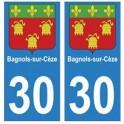 30 Bagnols-sur-Cèze ville autocollant plaque