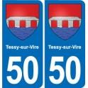 50 Tessy-sur-Vire blason autocollant plaque stickers ville