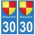 30 Beaucaire ville autocollant plaque