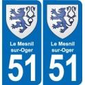 51 Le Mesnil-sur-Oger blason autocollant plaque stickers ville