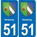 51 Verzenay blason autocollant plaque stickers ville