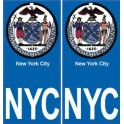 New-York City NCY ville monde sticker autocollant plaque