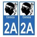 2A Corse Corsica autocollant plaque immatriculation auto sticker département