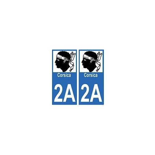 2a corse autocollant plaque immatriculation auto sticker d partement corsica voiture. Black Bedroom Furniture Sets. Home Design Ideas