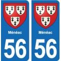 56 Ménéac coat of arms sticker plate stickers city