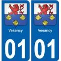 01 Vesancy ville autocollant plaque immatriculation auto sticker département