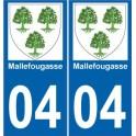 04 Mallefougasse ville sticker autocollant plaque immatriculation auto