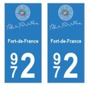 972 Fort-de-France autocollant plaque