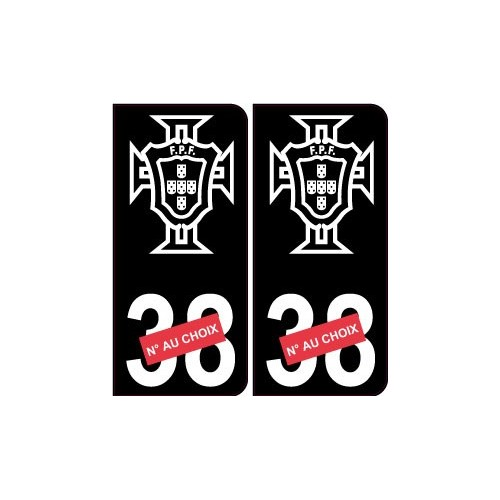 autocollant plaque immatriculation portugal fpf sticker avec num ro au choix noir. Black Bedroom Furniture Sets. Home Design Ideas