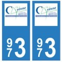 973 Cayenne autocollant plaque