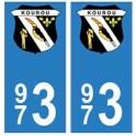 973 Kourou autocollant plaque
