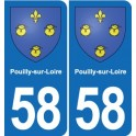58 Pouilly-sur-Loire coat of arms sticker plate stickers city