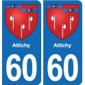 60 Attichy coat of arms sticker plate stickers city