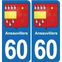 60 Ansauvillers blason autocollant plaque stickers ville
