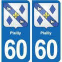 60 Plailly coat of arms sticker plate stickers city