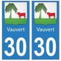 30 Vauvert ville autocollant plaque stickers