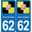 62 Neuve-Chapelle coat of arms sticker plate stickers city
