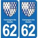 62 Campagne-lès-Hesdin blason autocollant plaque stickers ville