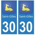 30 Saint-Gilles ville autocollant plaque stickers