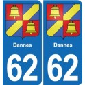 62 Dannes coat of arms sticker plate stickers city