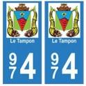 974 Le Tampon autocollant plaque