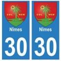 30 Nîmes ville autocollant plaque stickers