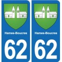 62 Hames-Boucres coat of arms sticker plate stickers city