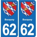 62 Bucquoy coat of arms sticker plate stickers city