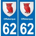 62 Offekerque coat of arms sticker plate stickers city