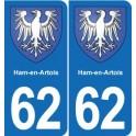 62 Ham-en-Artois coat of arms sticker plate stickers city