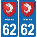 62 Wissant coat of arms sticker plate stickers city