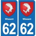 62 Wissant blason autocollant plaque stickers ville