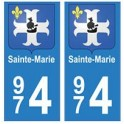 974 Sainte-Marie autocollant plaque