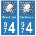 974 Saint-Louis autocollant plaque