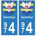 974 Saint-Paul autocollant plaque