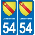 54 Damelevières blason autocollant plaque stickers ville