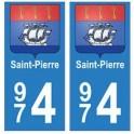 974 Saint-Pierre autocollant plaque