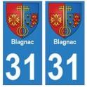 31 Blagnac ville autocollant plaque stickers