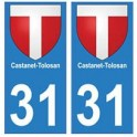 31 Castanet-Tolosan ville autocollant plaque blason stickers