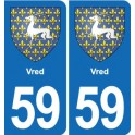 59 Vred coat of arms sticker plate stickers city